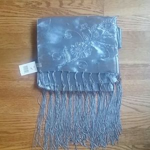 Sheer Embroidered Silver Wrap Scarf